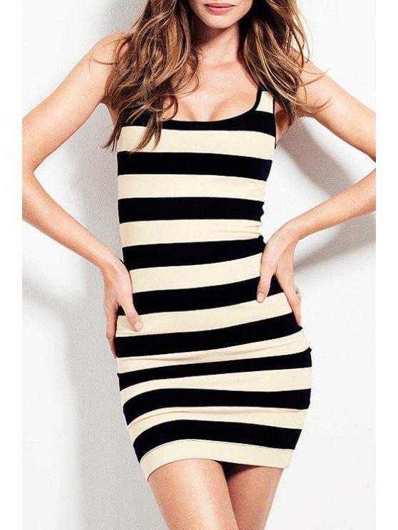 unique Sleeveless Striped Bodycon Dress - WHITE AND BLACK S