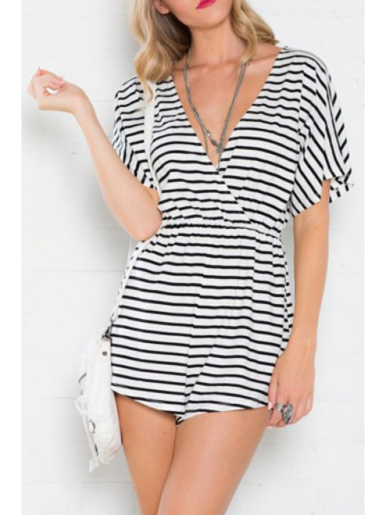 hot Deep V Neck Stripe Short Sleeve Romper - AS THE PICTURE S