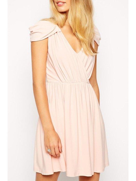 best Pure Color V Neck Cap Sleeve Dress - PINK S
