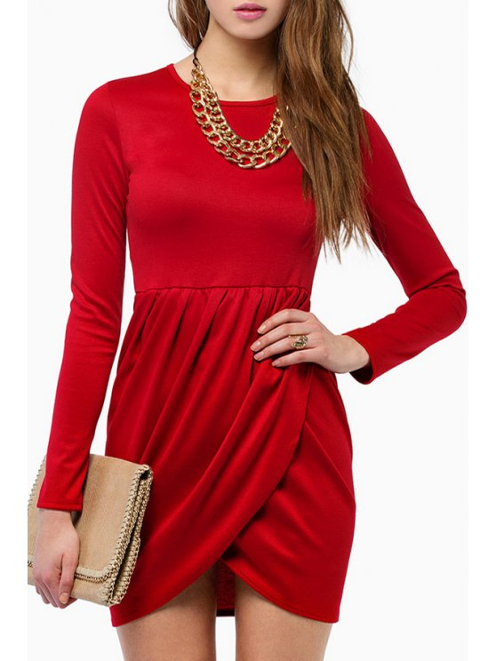 outfits Cross Ruffle Long Sleeve Dress - RED S