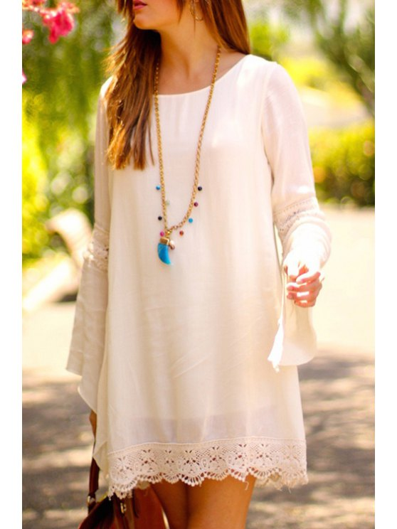 women Lace Splicing Loose-Fitting Long Sleeve Dress - WHITE S