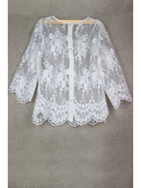 ladies See-Through Lace 3/4 Sleeve Blouse - WHITE S
