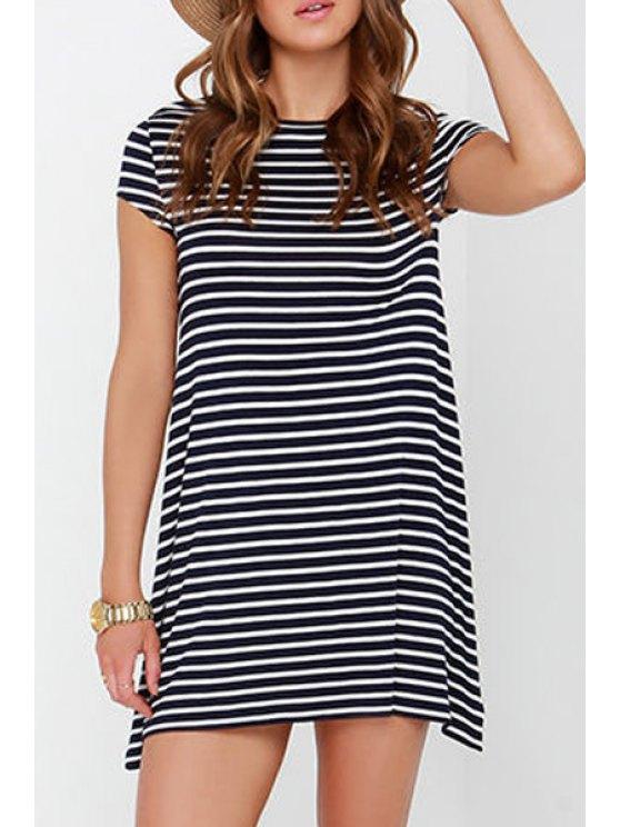 best Jewel Neck Stripes Short Sleeve Dress - WHITE AND BLACK S