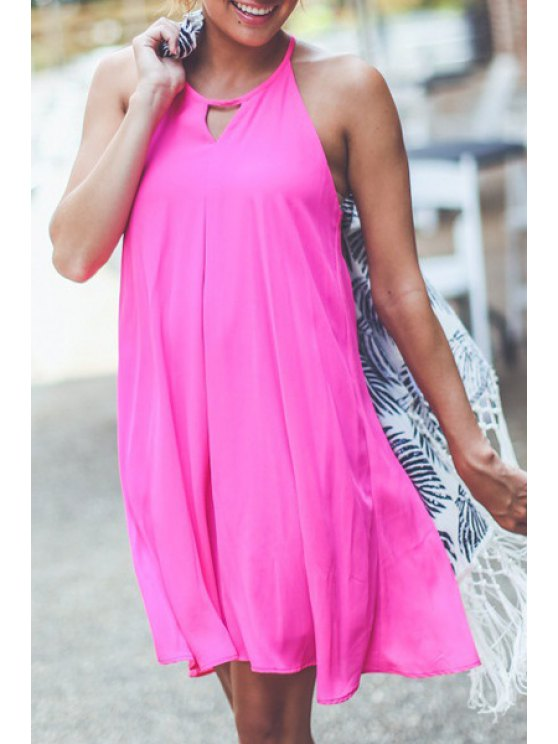 latest Sleeveless Solid Color Chiffon Flare Dress - ROSE S