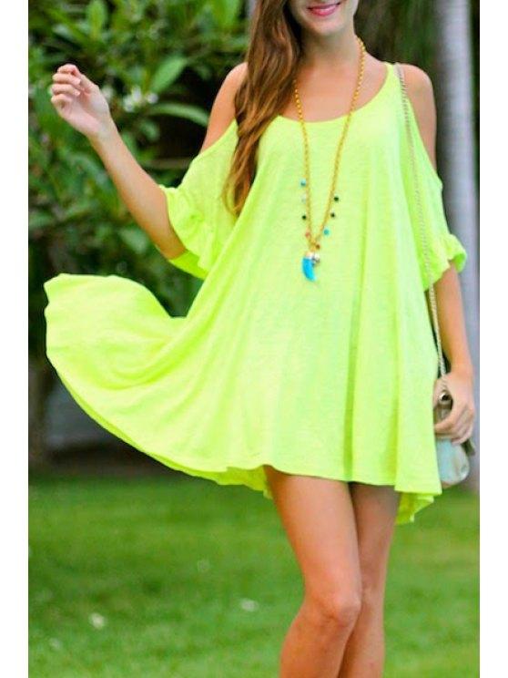 sale Spaghetti Strap Solid Color Flounce Dress - FLUORESCENT YELLOW S