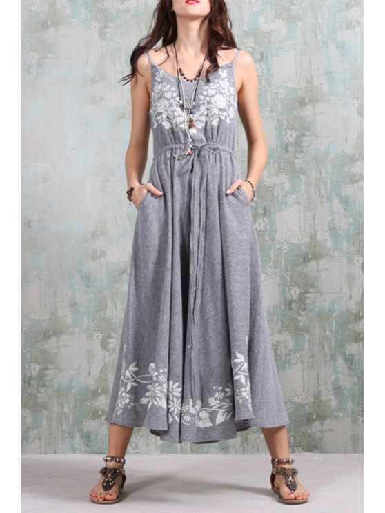 new Spaghetti Strap Embroidered Maxi Dress - GRAY ONE SIZE(FIT SIZE XS TO M)