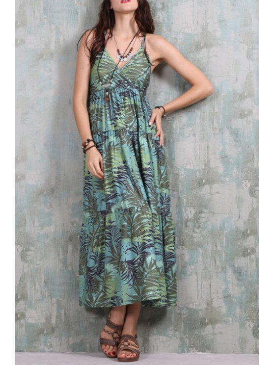 new Full Leaf Print Crisscross Back Dress - GREEN ONE SIZE(FIT SIZE XS TO M)