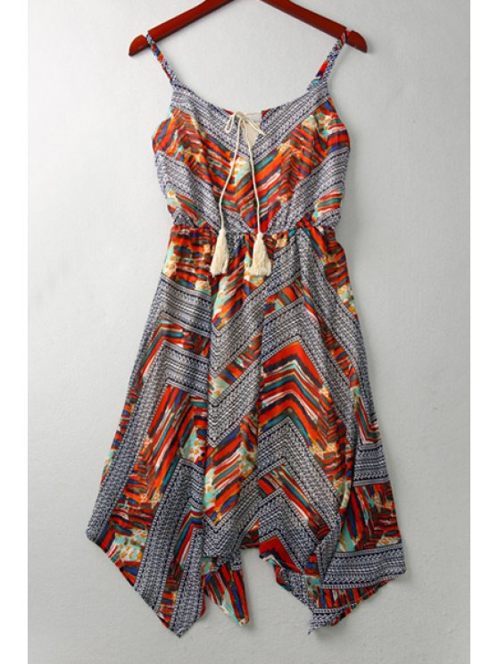 shop Ethnic Print Cami A Line Dress - COLORMIX S