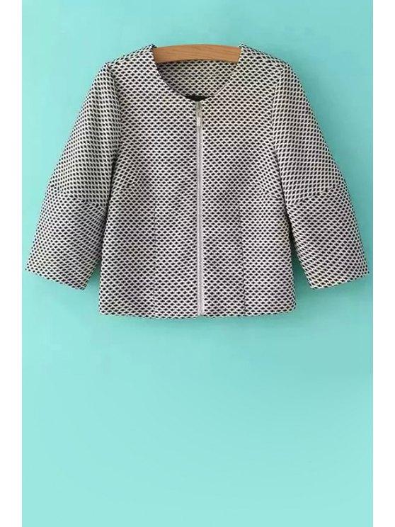 lady Black Print Long Sleeve Coat - GRAY S