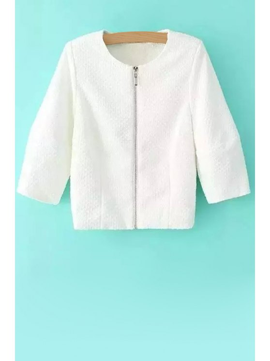 outfits White Embossing Long Sleeve Coat - WHITE S