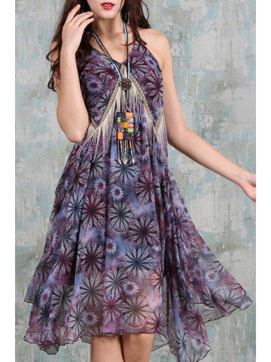 fancy Spaghetti Strap Floral Asymmetric Chiffon Dress - PURPLE S