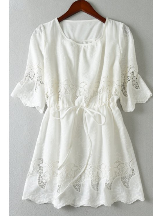 shop Embroidered Openwork White Dress - WHITE M