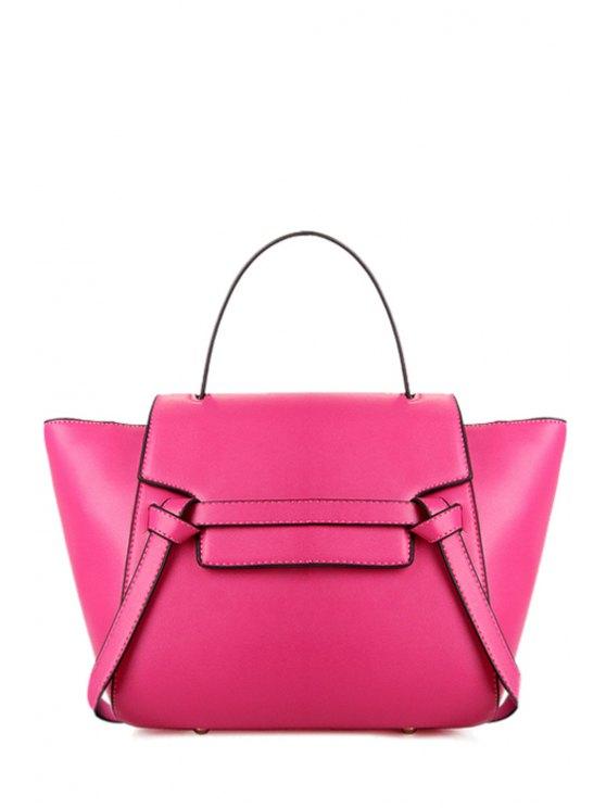 shop Belt Candy Color PU Leather Tote Bag - ROSE