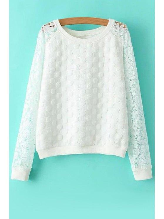 unique Polka Dot Lace Long Sleeve Sweatshirt - WHITE S