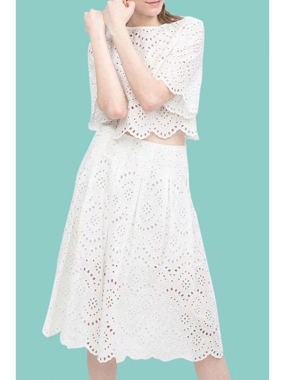 women's White Openwork Lace Hook Crop Top and Skirt Suit - WHITE S