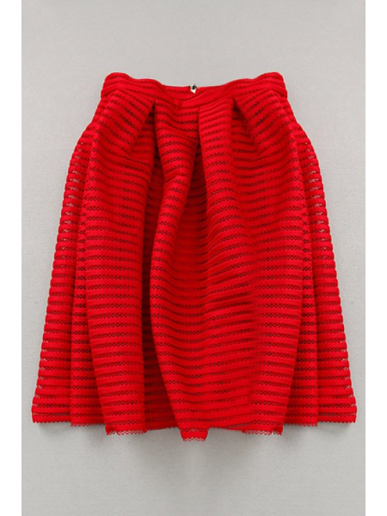 lady Hollow Out High Waisted A Line Skirt - RED S