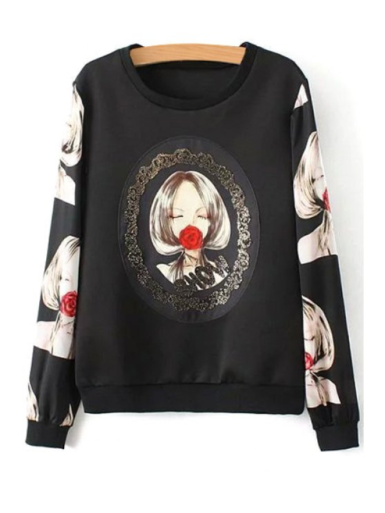 best Girl Rose Print Long Sleeve Sweatshirt - AS THE PICTURE S