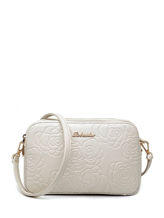 lady PU Leather Flowers Pattern Crossbody Bag - WHITE