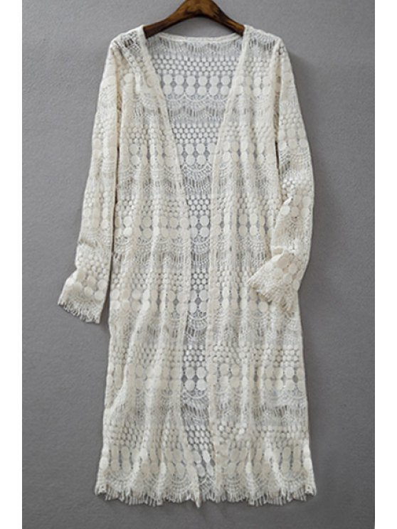 chic Crochet Lace Long Sleeve Blouse - OFF-WHITE S