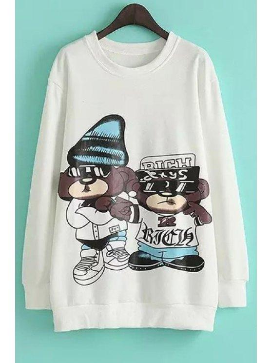 hot Cartoon Bear Print Long Sleeve Sweatshirt - WHITE M