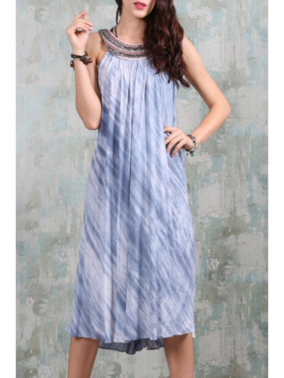 chic Beaded Backless Tie-Dyed Flare Dress - BLUE AND WHITE S