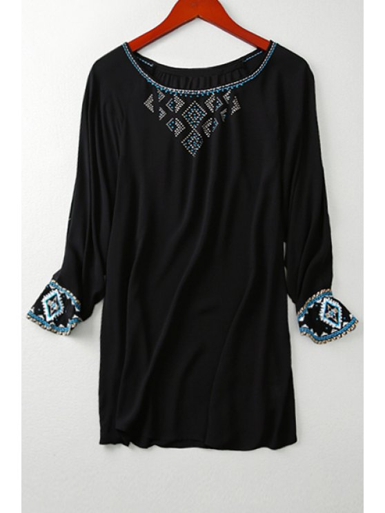 women's Ethnic Embroidery Long Sleeve T-Shirt - BLACK ONE SIZE(FIT SIZE XS TO M)
