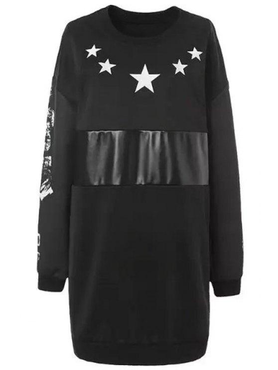 outfit White Star Print Long Sleeve Dress - BLACK L