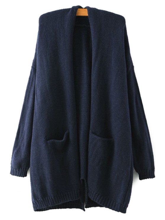 latest Back Slit Pocket Long Sleeve Cardigan - CADETBLUE ONE SIZE(FIT SIZE XS TO M)