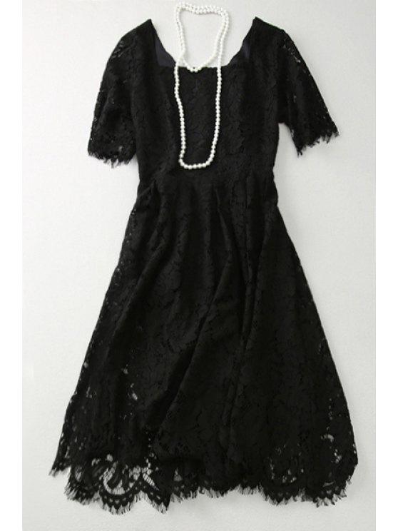 fashion Lace A Line Square Neck Short Sleeve Dress - BLACK S