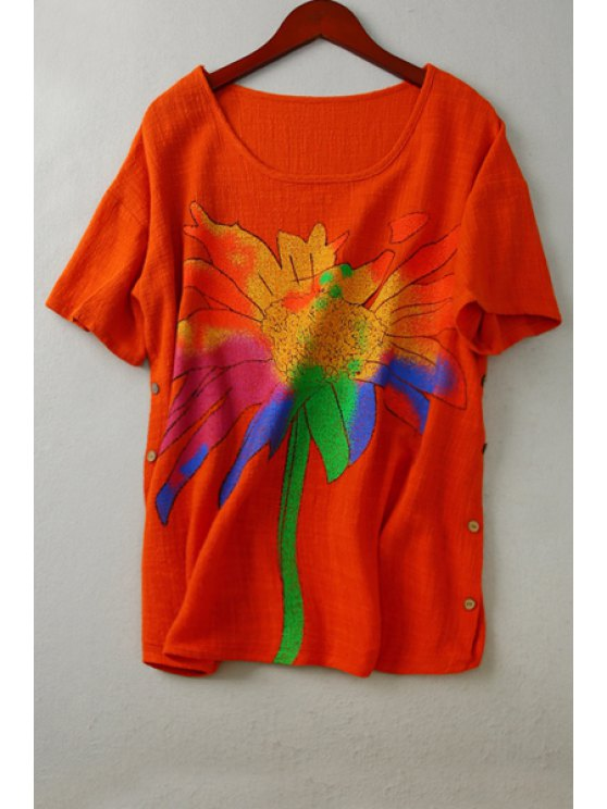 ladies Colorful Floral Print Short Sleeve T-Shirt - ORANGE ONE SIZE(FIT SIZE XS TO M)