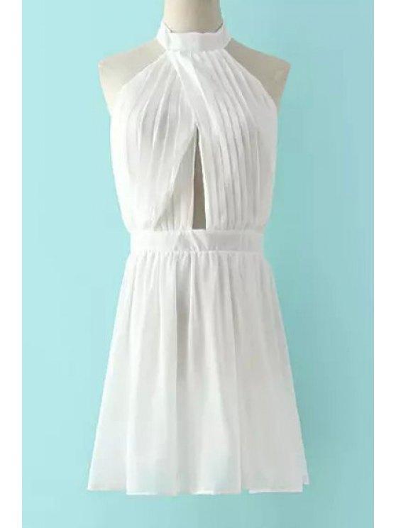 fashion Halter Neck Ruffles Backless Sleeveless Dress - WHITE S