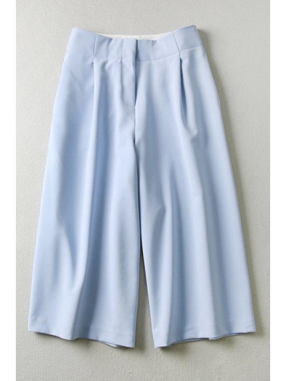 latest Blue High Waisted Capri Pants - BLUE S