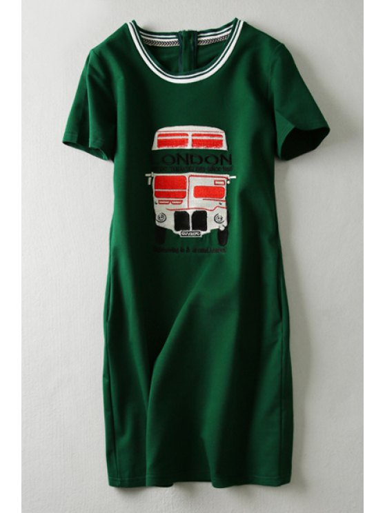 trendy Bus Embroidery Short Sleeve Dress - GREEN XS