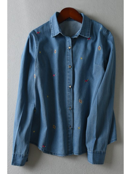 best Embroidery Shirt Neck Long Sleeve Shirt - LIGHT BLUE M