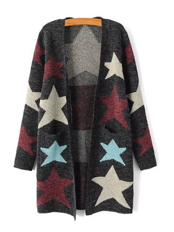 fancy Color Block Star Pattern Long Sleeve Cardigan - GRAY ONE SIZE(FIT SIZE XS TO M)