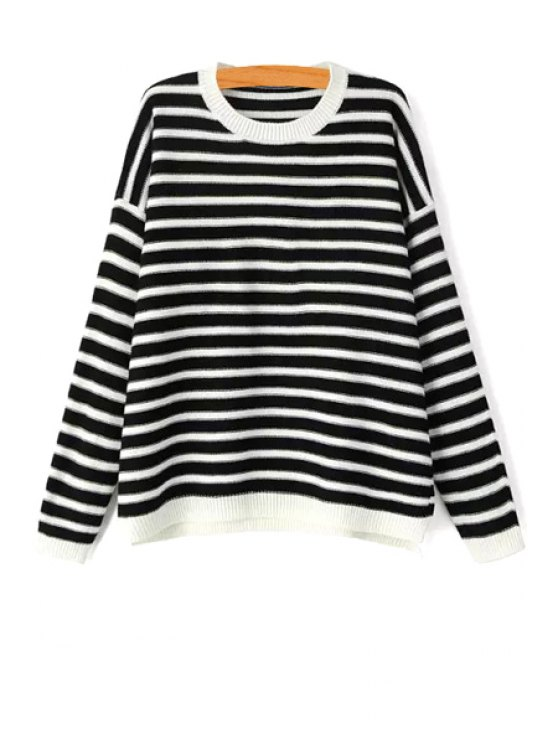 sale White Black Stripes Long Sleeve Sweater - WHITE AND BLACK S