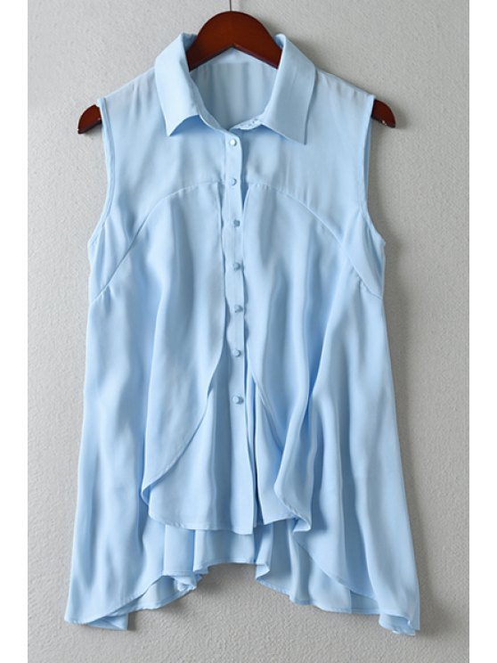 sale Blue Chiffon Turn Down Collar Sleeveless Shirt - BLUE S