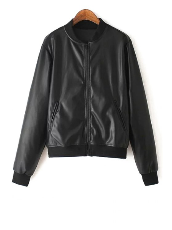 lady Black Faux Leather Long Sleeve Jacket - BLACK S