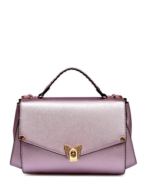 shops Rivets Metal PU Leather Crossbody Bag - PINK
