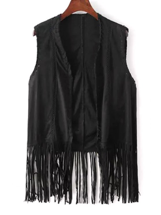 womens Fringe Faux Suede Sleeveless Waistcoat - BLACK ONE SIZE(FIT SIZE XS TO M)