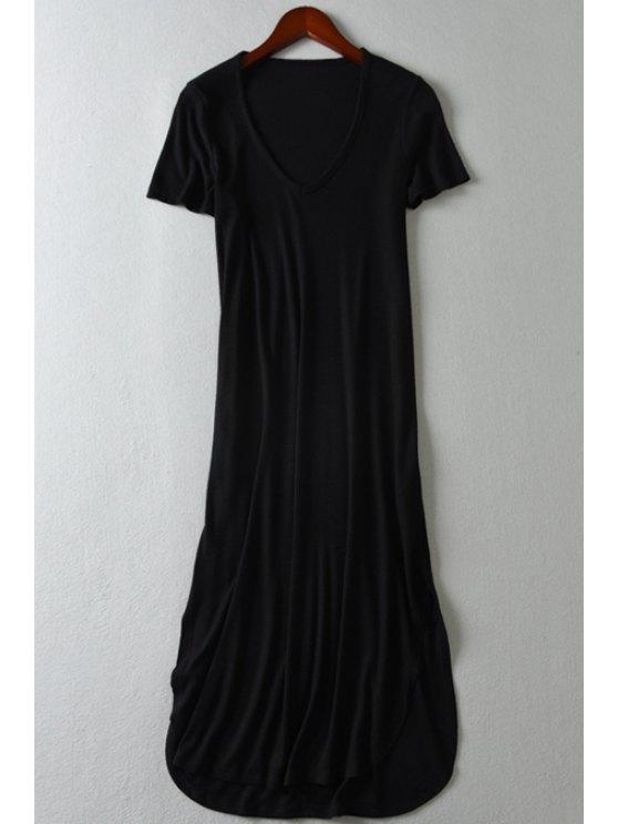 best Short Sleeve Pure Color V Neck Maxi Dress - BLACK S