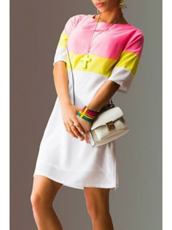 latest Color Block Striped Straight Dress - PINK S