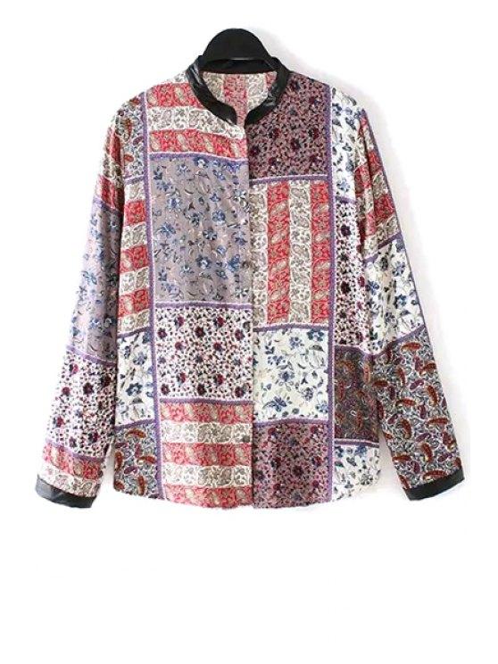 unique Stand-Up Collar Tiny Floral Print Plaid Shirt - COLORMIX S