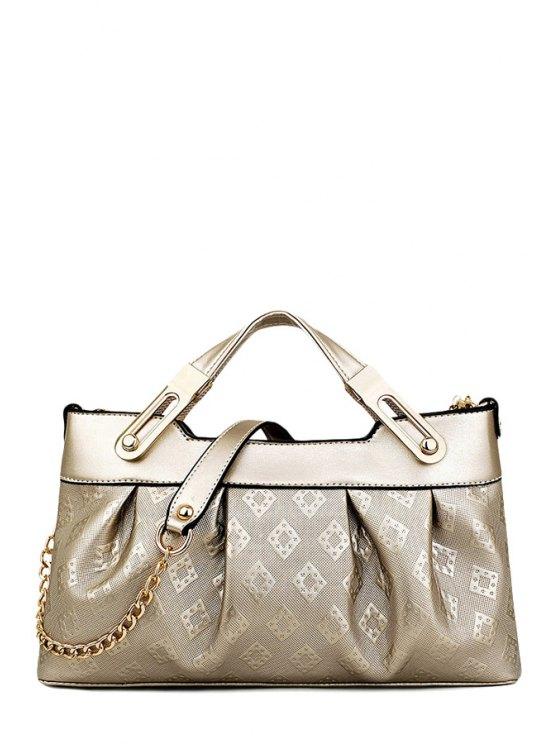 buy Metal Embossing PU Leather Tote Bag - GOLDEN