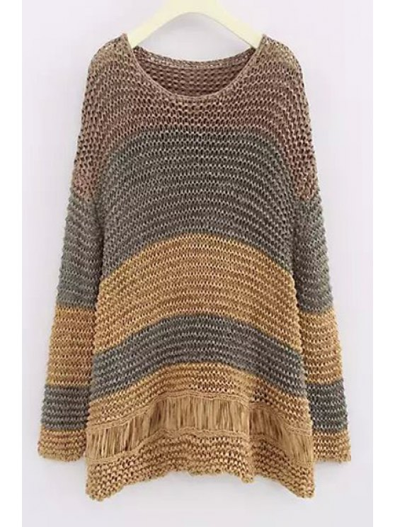 latest Scoop Neck Color Block Openwork Sweater - KHAKI ONE SIZE(FIT SIZE XS TO M)