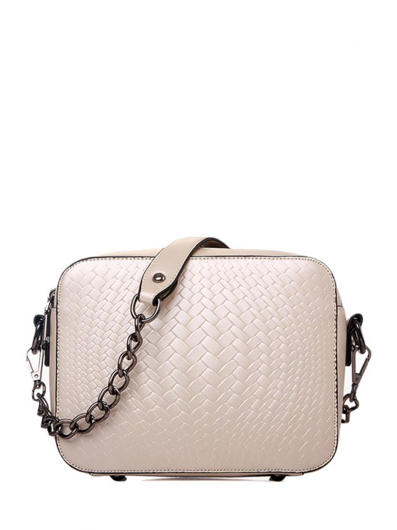 trendy Weaving PU Leather Chain Shoulder Bag - OFF-WHITE