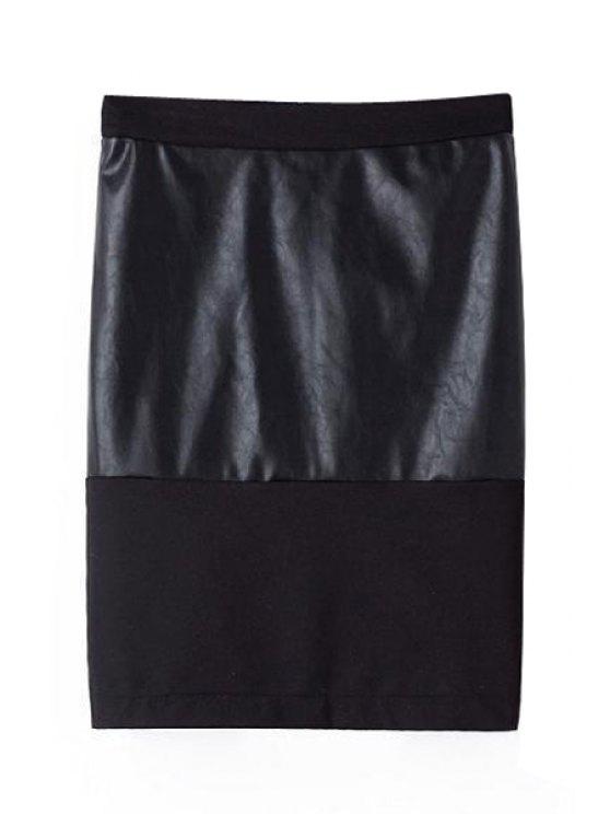 women's PU Leather Splicing Back Slit Skirt - BLACK S