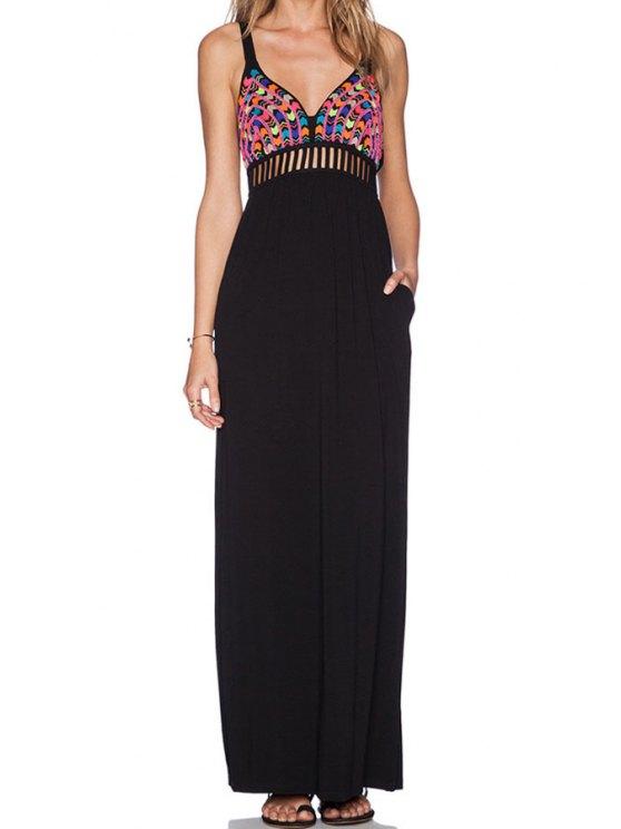 new Colorful Print Spliced Cami Maxi Dress - BLACK S