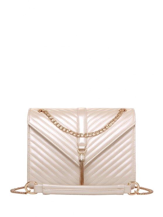 unique Chain Tassels PU Leather Crossbody Bag - OFF-WHITE