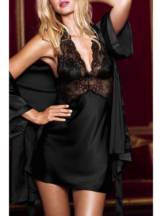 ladies Lace Spliced Cami Hollow Babydoll - BLACK ONE SIZE(FIT SIZE XS TO M)